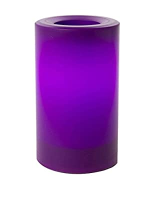 Candle Impressions Flameless Candle Outdoor Pillar with Timer, Purple