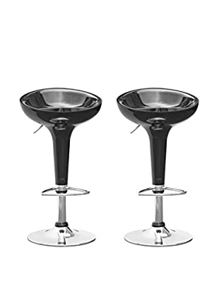 Manhattan Living Set of 2 Razzle Bar Stools, Black