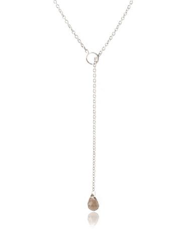 Catherine Angiel Lariat Necklace, Silver/Smokey Topaz