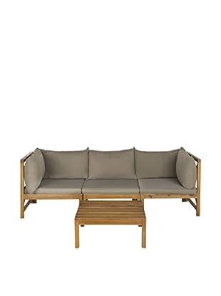 Safavieh Lynwood Outdoor Sectional Set, Teak Brown/Taupe