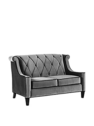 Armen Living Barrister Loveseat with Black Piping, Grey Velvet