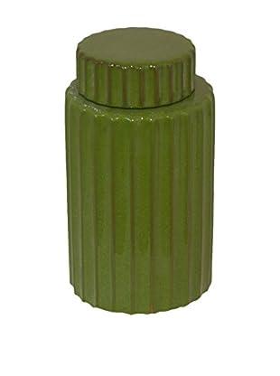 Three Hands Lidded Green Jar