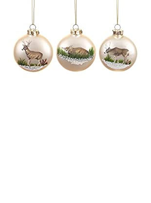Winward Set of 3 Deer Disk Ornaments, Cream/Brown