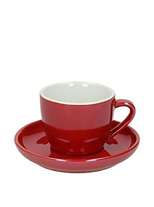 Tognana Kaffeetasse mit Untertasse 6er Set Colortek rot