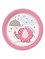"""7"""" Pink Elephant Baby Shower Dessert Plates, 8ct Its Disposable Tableware Makes After Party Cleanup Easy"""