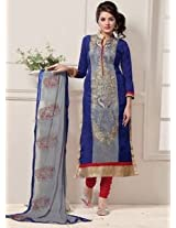 Saara Blue And Red Embroidered Dress Material - 142D3031