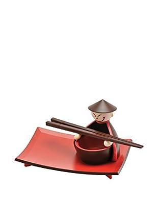 Molecuisine Sushi Geschirr 8 tlg. Set For 2 rot/braun