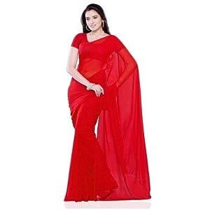 Soft Plain Faux Chiffon Saree ( Sari ) - Red