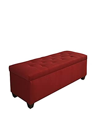 MJL Furniture Sole Secret Small Upholstered Shoe Storage Bench, Red