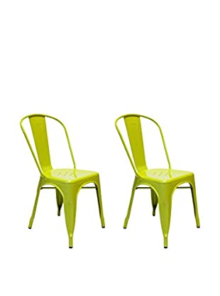 Aeon Euro Home Collection Set of 2 Garvin-1 Chairs, Lime
