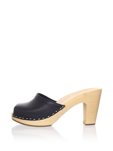Swedish Hasbeens Women's Grease Clog Sandal (Black/nature)