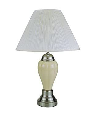 ORE International Classic Ceramic 1-Light Table Lamp, Silver/ Ivory