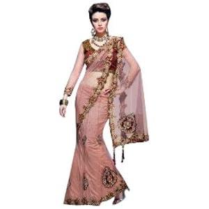 Designer Peach colour net embroidered lehenga saree.