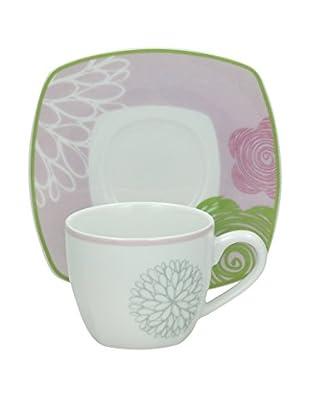 Tognana Kaffeetasse Mit Untertasse 6er Set Smart  Ninfa weiß/rosa