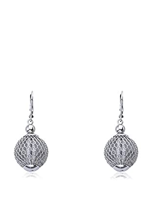 Riccova Country Chic Rhodium Plated Mesh Lucite Ball Dangle Earrings