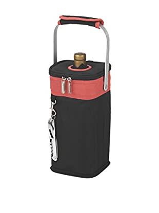 Picnic at Ascot Insulated Single Bottle Carrier, Black/Orange