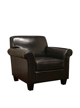 Baxton Studio Atticus Faux Leather Club Chair, Dark Brown
