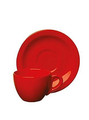 Set, 4-tlg. Kaffeetasse und Unterteller rot
