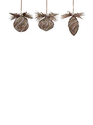 Winward Set of 3 Glittered Paper Birch Ornaments, Platinum/Brown