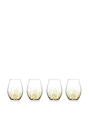 Jay Imports Set of 4 Daphne Gold Luster Stemless Wine Glasses, Clear/Gold