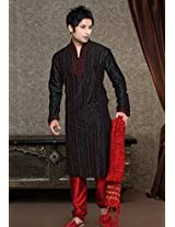 Black and Red Art Dupion Kurta with Churidar