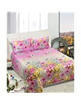 Beautiful Queen Size Bedsheets -Floral Design - Pink Color