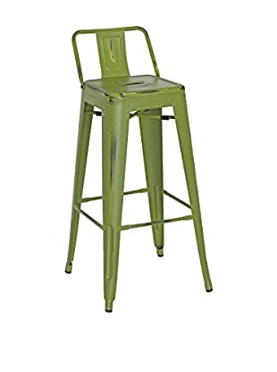 LO+DEMODA Set Taburete de bar 2 Uds. Metal 77 Antique Ural Square Verde