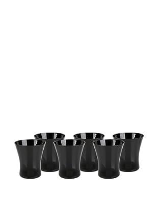 Impulse! Set of 6 Graffiti Tumbler Glasses, Black