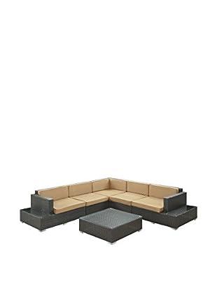 Modway Harbor 6-Piece Outdoor Patio Sectional Set (Espresso/Mocha)