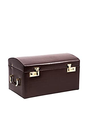 Bey-Berk Brown Croco Leather Jewelry Chest