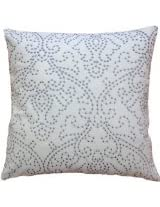 Decorative Designers Embroidery Floral Design with Dots Throw Pillow COVER 18 Grey
