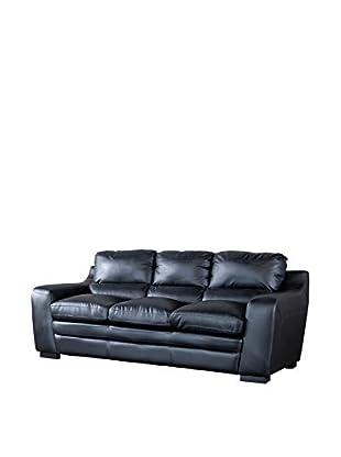Baxton Studio Diplomat Modern Leather Sofa, Black