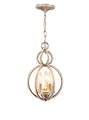 Gold Coast Lighting Garland 3-Light Crystal Bead Mini Chandelier, Distressed Twilight