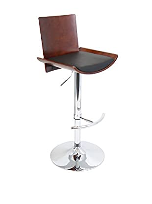 LumiSource Vittorio Bar Stool, Cherry/Black