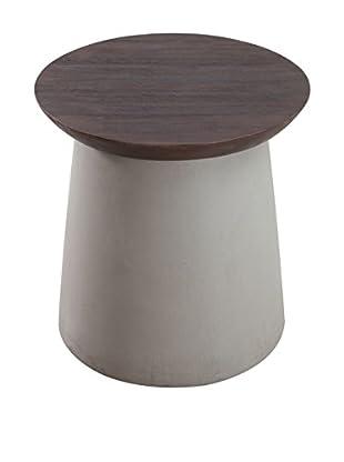 Zuo Modern Henge Side Table, Cement/Walnut