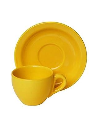 Set, 4 Kaffeetassen mit Untertassen gelb