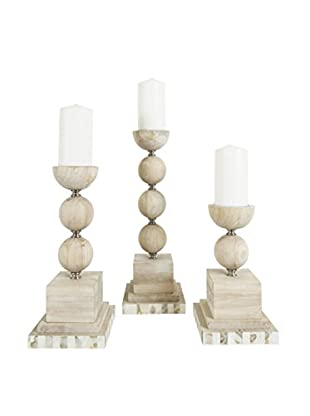 Couture Largo Set of 3 Candleholders, Natural/Gray Wash/Mother of Pearl/Brushed Steel