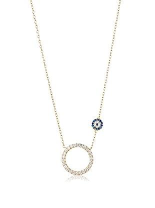 Dolce Vetra Open CZ Circle & Evil Eye Necklace