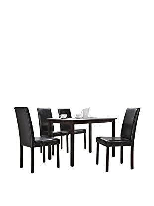 Baxton Studio Andrew 5-Piece Modern Dining Set, Dark Brown