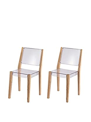 Manhattan Living Set of 2 Lhosta Dining Chairs, Clear