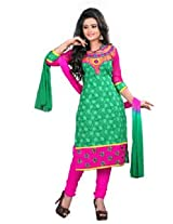 7 Colors Lifestyle Green Coloured Cotton Unstitched Churidar Material - ADPDR2001HYBY