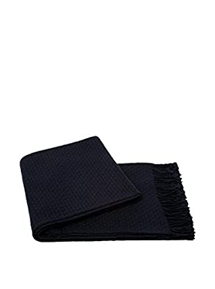 a & R Cashmere Cashmere & Wool Blend Basketweave Throw, Navy