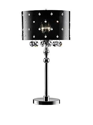 ORE International Star Crystal 3-Light Table Lamp, Black