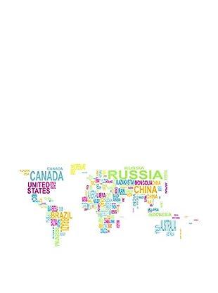 Contemporary Wood Leinwandbild Text World Map