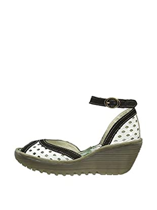 Fly London Sandalias Ydel (Blanco / Negro)