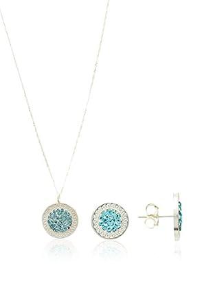 Silver One Conjunto de cadena, colgante y pendientes Greca Agua Marina