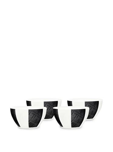 Noritake Everyday Elegance Set of 4 Zinc2 Small Round Bowls (White/Black)