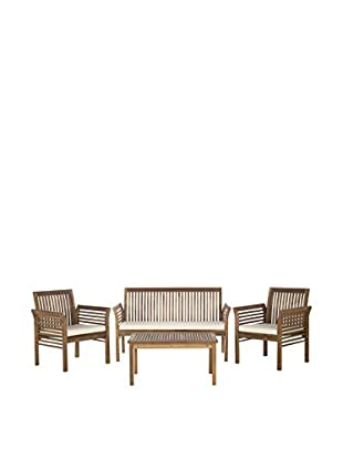 Safavieh Carson 4-Piece Outdoor Set, Teak/Beige