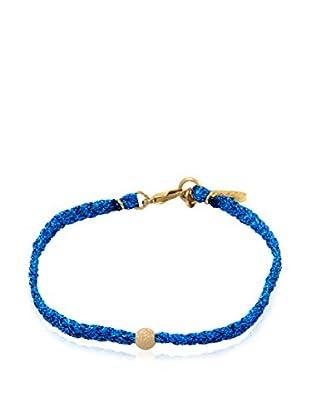 Ettika Blue Braided Metallic Thread Bracelet with Gold-Dusted Bead