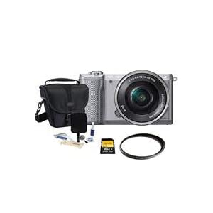 Sony Alpha A5000 Mirrorless Digital Camera with 16-50mm E-Mount Lens Silver,- Bundle With Sony 16GB Class 10 SDHC Card, LowePro REZO TLZ-10 Holster Case, Cleaning Kit, Pro-Optic 40.5 UV MC Filter